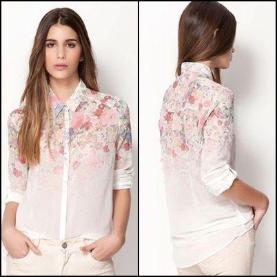 Camisa Floral  Branca #1 - FRETE GRATIS