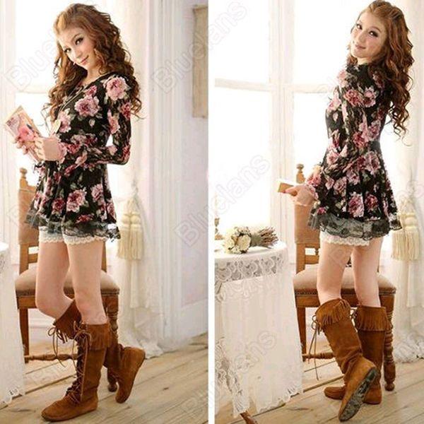 Camisa Renda Floral Preta